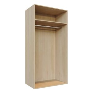 Single shelf, single hanging rail, Wardrobe Doors carcass, fitting components C2-long-hang-1000x2000-L
