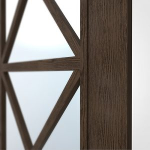 Regency-Close_burnt_oak mirror wardrobe door, oak fret work