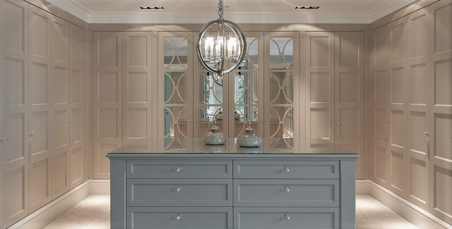 large Casino Mirror wardrobe. Panels and fret work. Painted cream. Lampshade with island - lot's of light.