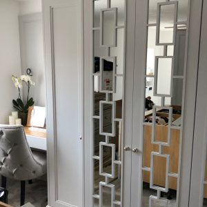 ilton grey wardrobe doors, fret, mirror, bedroom.