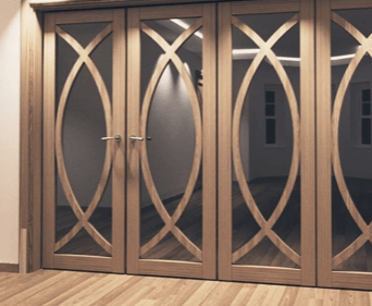 Mirror Wardrobe Door - Luxury Gold Fret work and mirror.