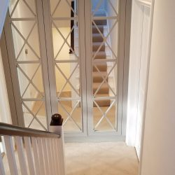 White 350mm bespoke Savoy mirror wardrobes Just wardrobe doors, bespoke wardrobe designs, made to measure sizes.