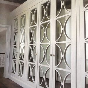 Casino mirror wide angle, white with mirrors, glass handles. Bespoke fitting.
