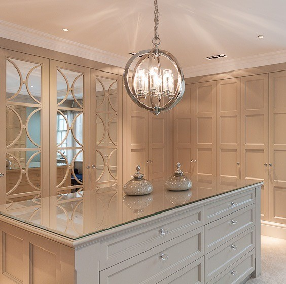 Casino mirror and panelled wardrobe combination. Bespoke sizes and paint. Cream Colour.
