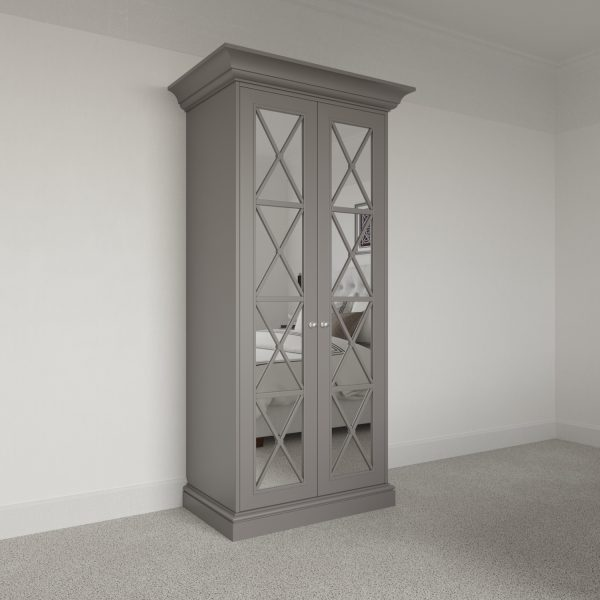2 door Savoy Wardrobe Pod with mirror. Free standing luxury wardrobe fitting kit.