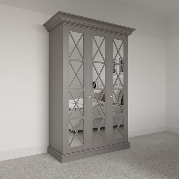 3 door Savoy Wardrobe Pod with mirror. Free standing luxury wardrobe fitting kit.