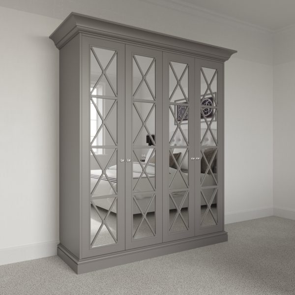 4 door Savoy Wardrobe Pod with mirror. Free standing luxury wardrobe fitting kit.