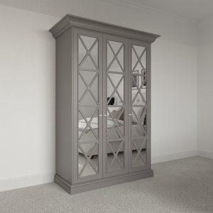 3 door Savoy Wardrobe Pod with mirror. Free standing luxury bedroom wardrobe fitting kit.