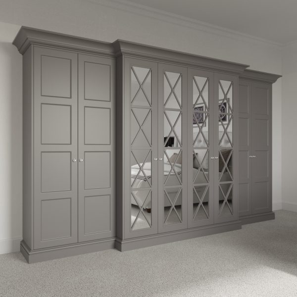 8 door Savoy Wardrobe Pod with mirror and panelled breakfront. Free standing luxury wardrobe fitting kit.