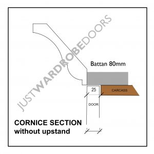 Luxury wardrobe cornice section without upstand fitting option 80mm