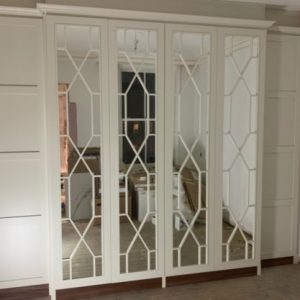 Chippendale Mirror Wardrobe, pure whire finish