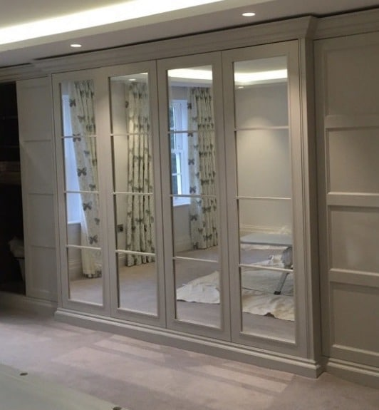 The Bauhaus Mirror, bedroom wardrobe finished in pebble white